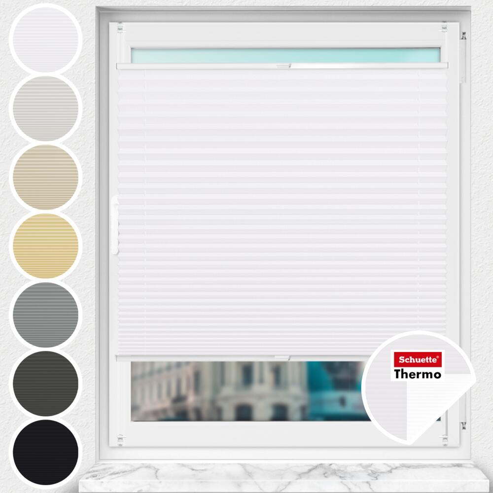 Schuette® Plissee ohne Bohren nach Maß • Thermo Kollektion: White Day (Weiß) • Profilfarbe: Weiß
