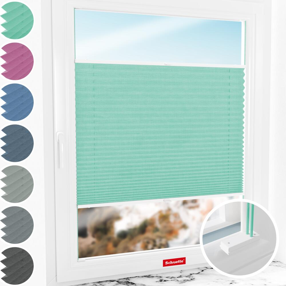 Schuette® Plissee mit Bohren nach Maß • Melange Kollektion: Mint Ice Cream (Grün) • Profilfarbe: Weiß