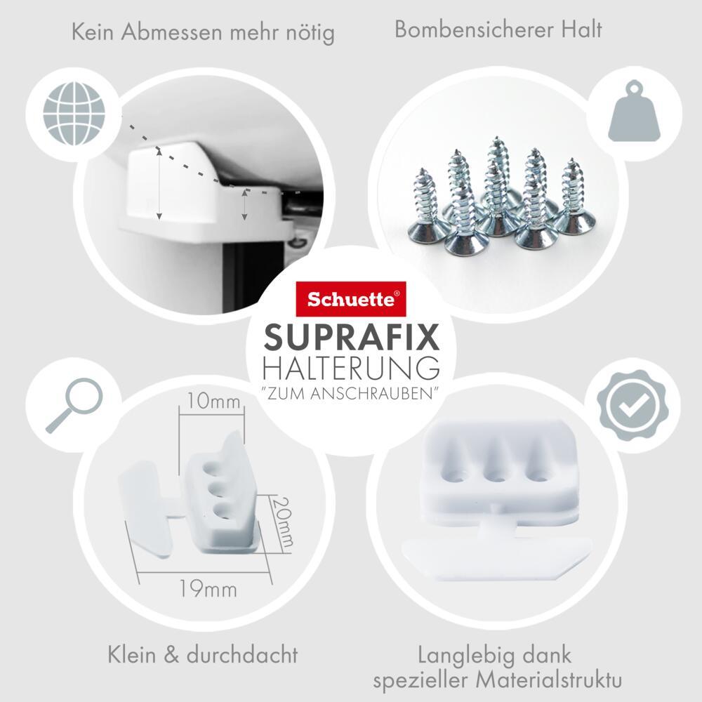 Schuette® Suprafix Plissee Halterungen zum Anschrauben/mit Bohren ● 4 Stück Set ● Weiß
