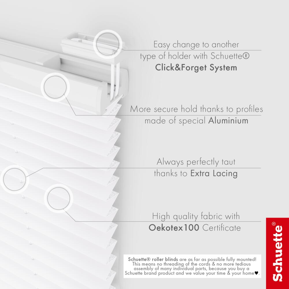 Schuette® Pleated Blind Made to Measure without Drilling • Thermo Collection: White Day (White) • Profile Colour: White