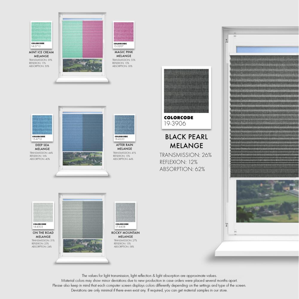 Schuette® Dachfenster Plissee nach Maß • Melange Kollektion: Mint Ice Cream (Grün) • Profilfarbe: Weiß