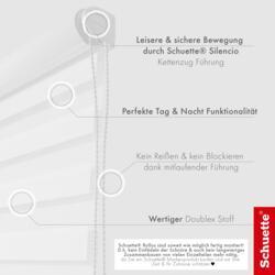 Schuette® Rollo ohne Bohren & mit Bohren 2in1 • Nacht Doppelrollo Kollektion: White Snow (Weiß) • Profilfarbe: Weiß